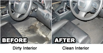 Before and After Cleaning upholstery in automotive