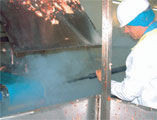cleaning equipment for use in meat processing houses and abattoirs