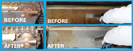 showing before and after results, of using high pressure superheated steam to dissolve grease and grime