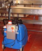 JetVac Maxi configured for cleaning a pastry handling conveyor, within a commercial bakery