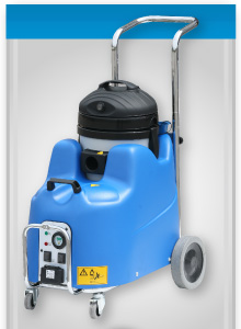powerful steam cleaning machine, with 8 bar output pressure, wet vacuum and detergent injection