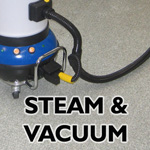 industrial grade steam vacuum removes all soiling from the surface being cleaned