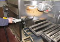 Cheese production factory detail cleaning, using the powerful Salla industrial steam cleaner
