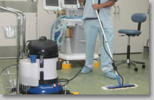 steam mop for use throughout healthcare, hospital and medical centre patient areas and public spaces