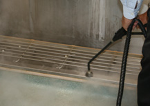 rugged, powerful cleaning equipment for use sanitising toilets